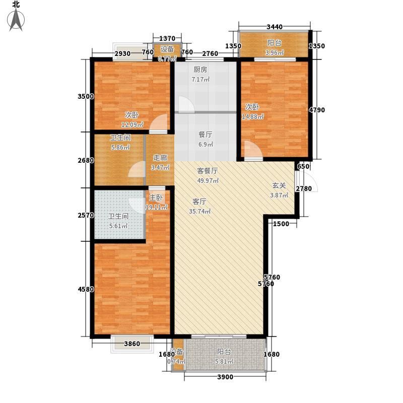 万水澜庭户型图e户型 3室2厅2卫1厨