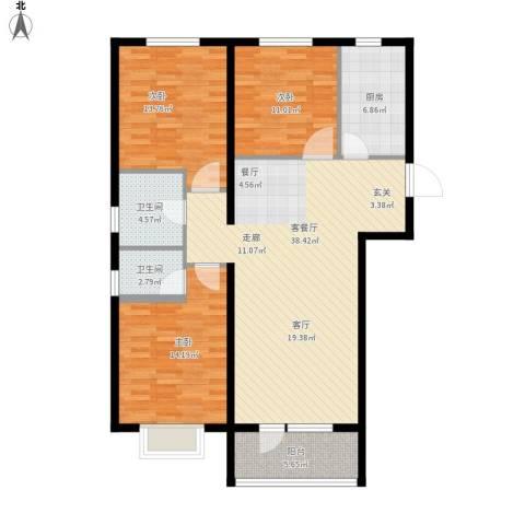 华府丹郡3室1厅2卫1厨136.00㎡户型图