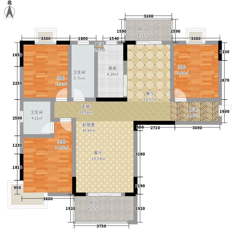 天华名城户型图一期C-01户型 3室2厅2卫1厨