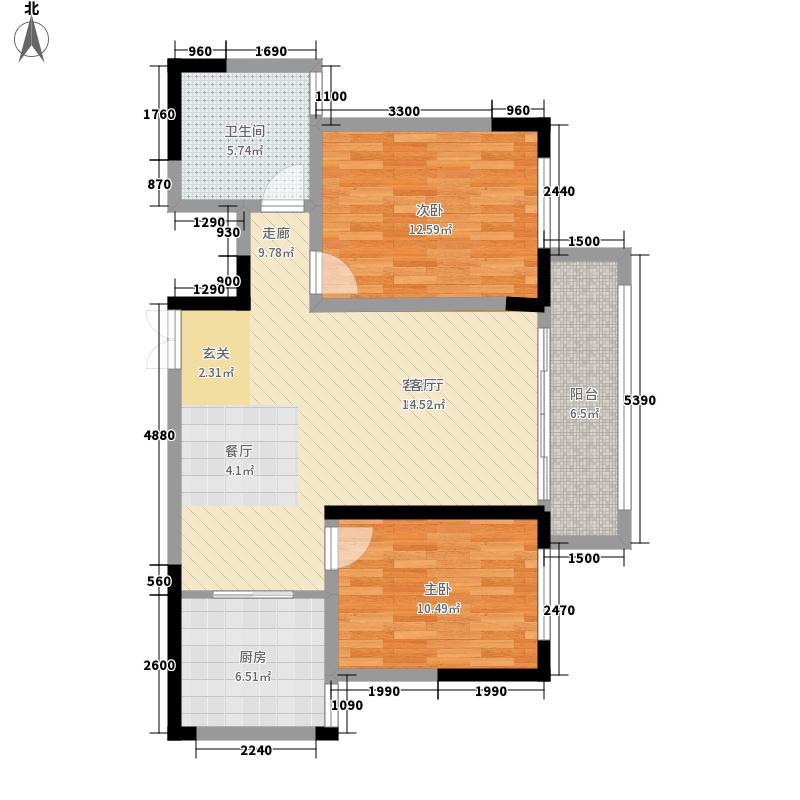 天麒华庭D户型2室2厅1卫1厨