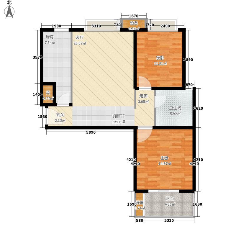 万水澜庭户型图h户型 2室2厅1卫1厨