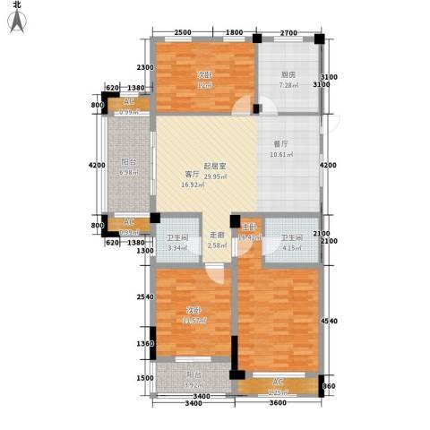 清华名家3室0厅2卫1厨114.00㎡户型图