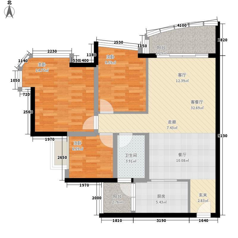 合景朗悦君庭91.94㎡合景朗悦君庭户型图D3号楼2-15层04单位3室2厅1卫1厨户型3室2厅1卫1厨