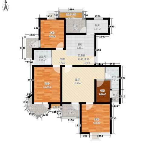 紫晶苑4室1厅2卫1厨100.00㎡户型图
