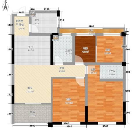 清华名家4室0厅2卫1厨101.00㎡户型图