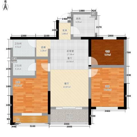 清华名家3室0厅2卫1厨100.00㎡户型图
