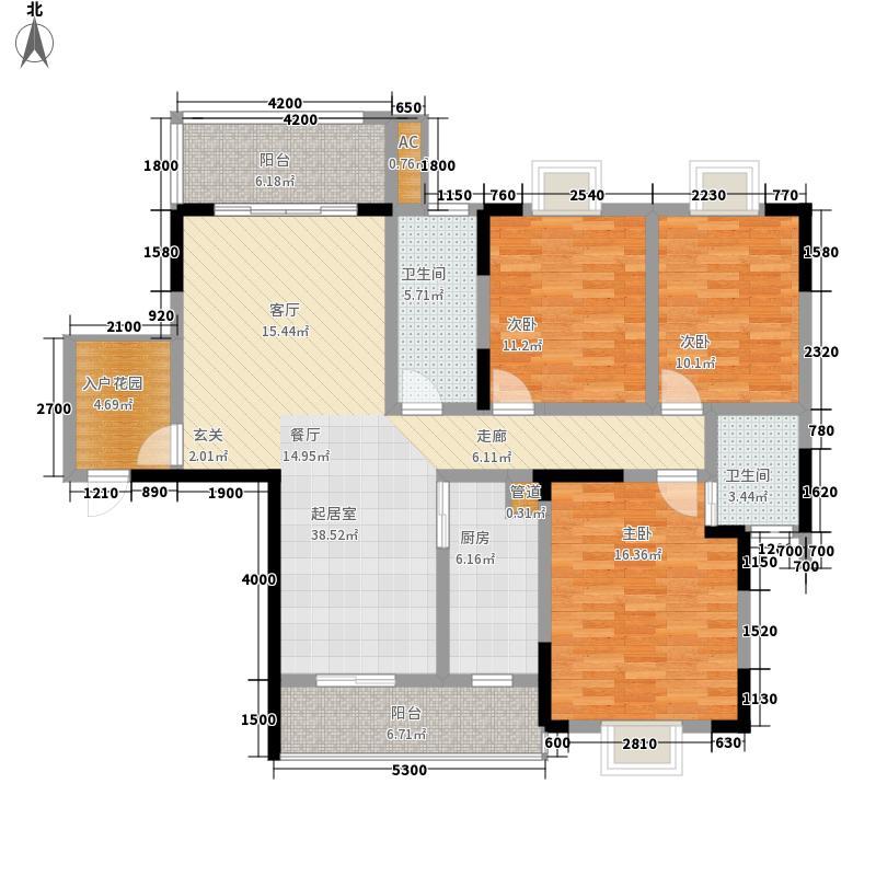 天华名城户型图一期B-02户型 3室2厅2卫1厨