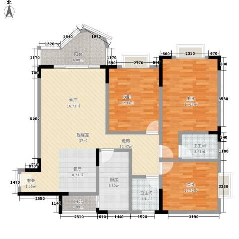 嘉新桃花里3室0厅2卫1厨108.00㎡户型图