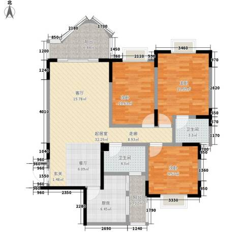 嘉新桃花里3室0厅2卫1厨94.00㎡户型图