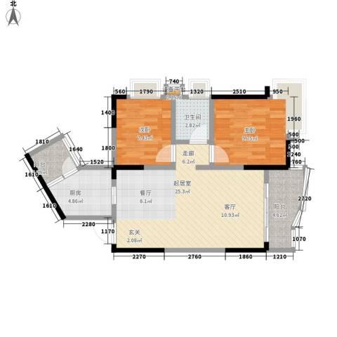 骏逸天下2室0厅1卫1厨66.00㎡户型图