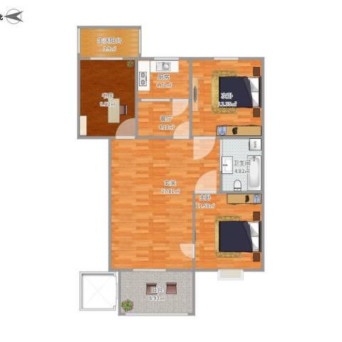 阳光小区3室1厅1卫1厨116.00㎡户型图