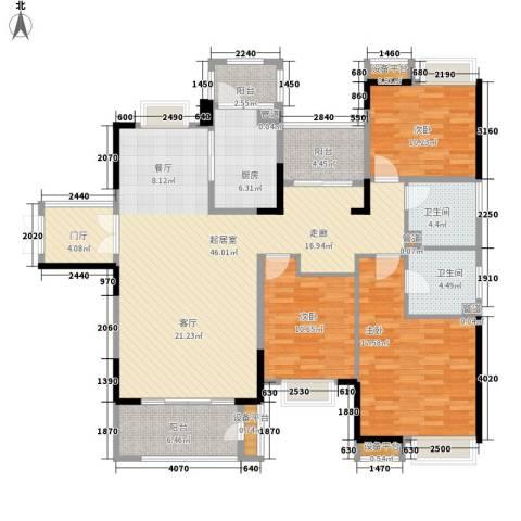 角美万达广场3室0厅2卫1厨135.00㎡户型图