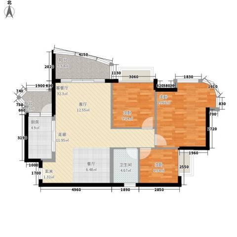 合景朗悦君庭3室1厅1卫1厨91.00㎡户型图