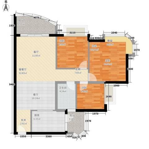 合景朗悦君庭3室1厅1卫1厨93.00㎡户型图