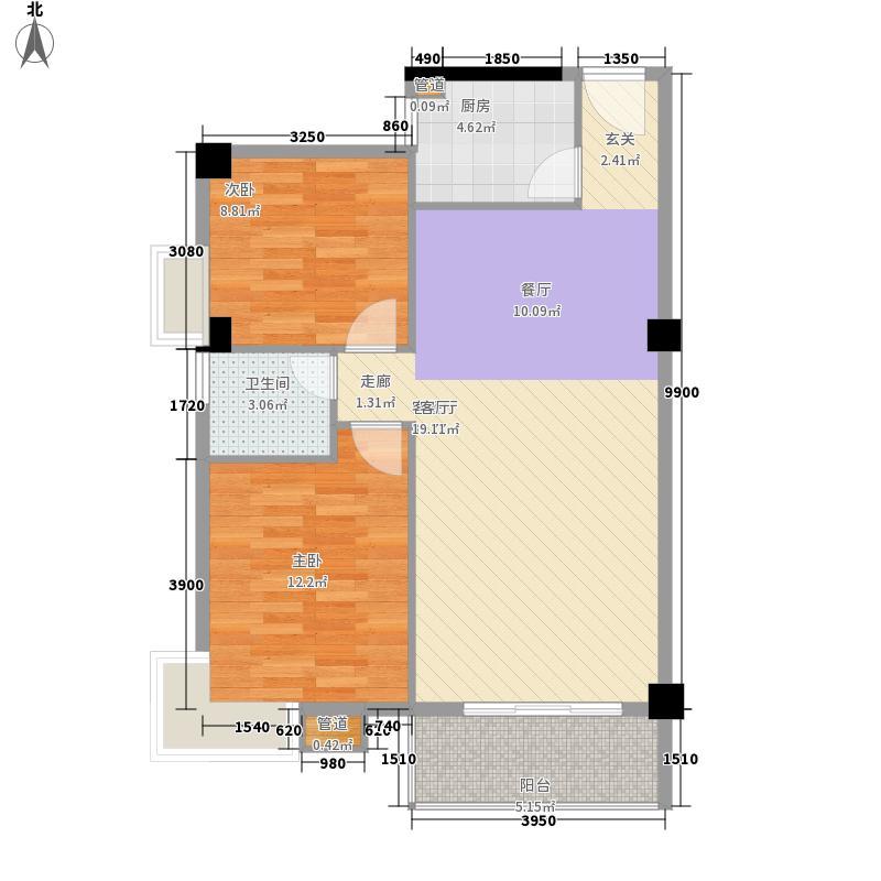港鹏・公园印象85.15㎡B5户型2室2厅1卫1厨