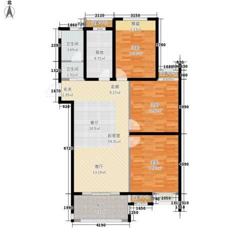 观湖壹号3室0厅2卫1厨136.00㎡户型图
