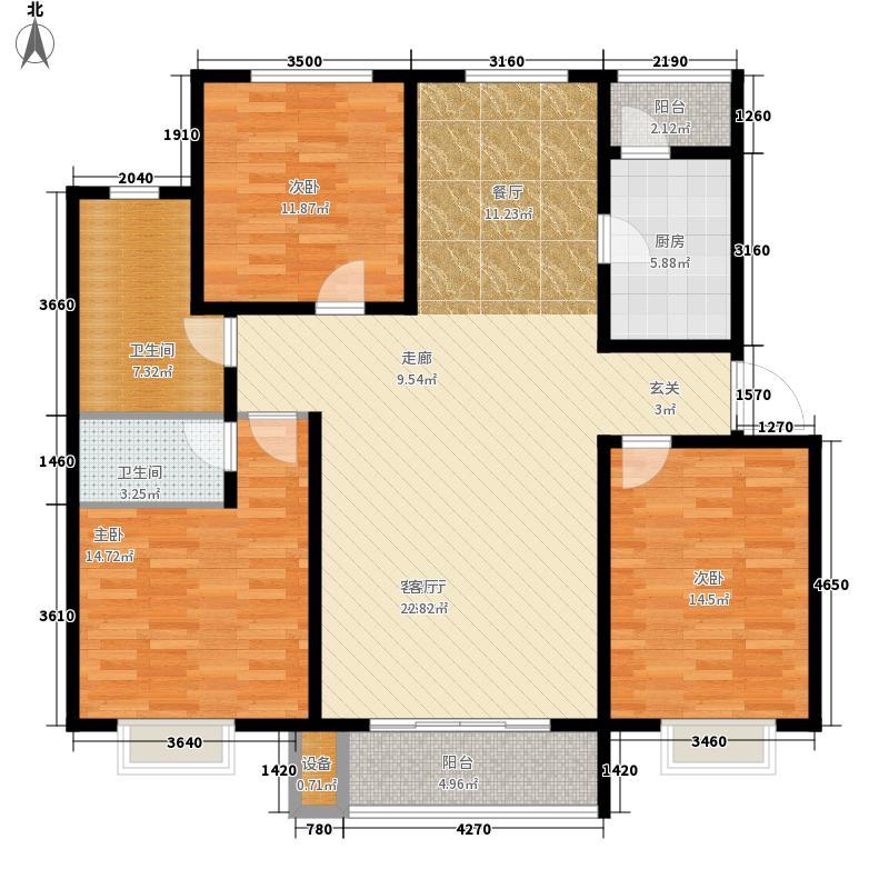 盛世・龙凤花苑D2户型 3室2厅1卫1厨 126.94㎡