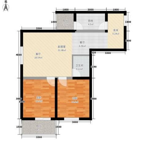 山水华城2室0厅1卫1厨102.00㎡户型图