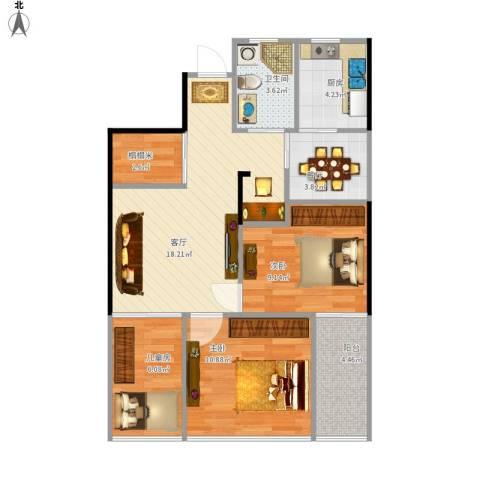 旺角公馆3室2厅1卫1厨69.21㎡户型图
