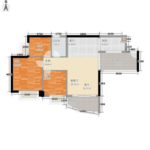 合景朗悦君庭3室1厅1卫1厨92.00㎡户型图