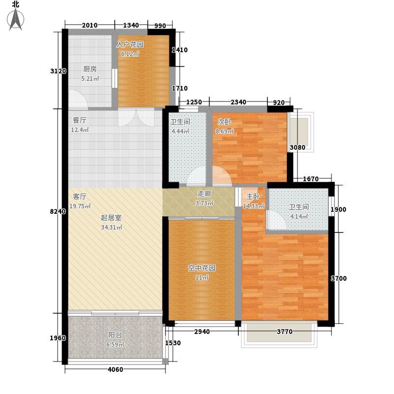 颐和盛世108.00㎡颐和盛世户型图6号楼(�景台)02户型2室2厅2卫1厨户型2室2厅2卫1厨