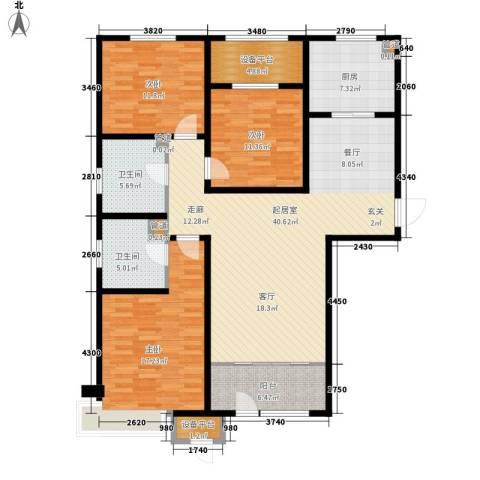 京能海与城3室0厅2卫1厨126.00㎡户型图