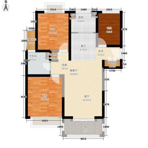 合生财富海景公馆3室1厅1卫1厨123.00㎡户型图