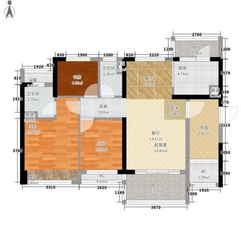 幸福码头3室0厅2卫1厨89.00㎡户型图