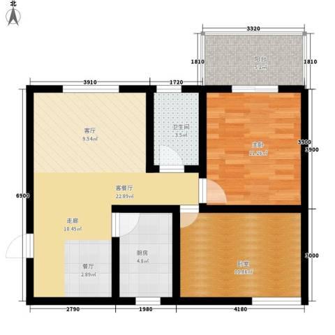 银通丽水天成1室1厅1卫1厨67.00㎡户型图
