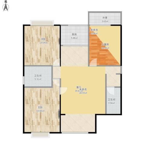 罗马景福城3室1厅2卫1厨127.00㎡户型图