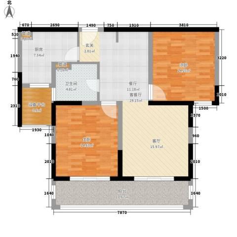 合生财富海景公馆2室1厅1卫1厨95.00㎡户型图