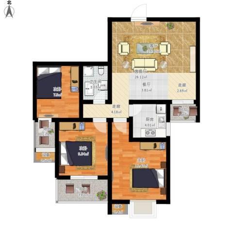 太白新苑3室1厅1卫1厨104.00㎡户型图