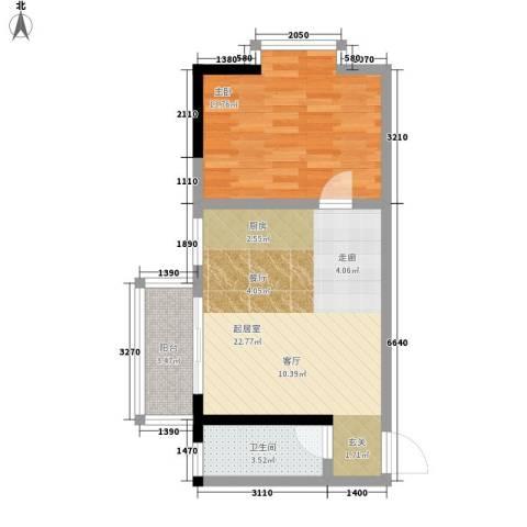 金洲城1室0厅1卫0厨50.18㎡户型图