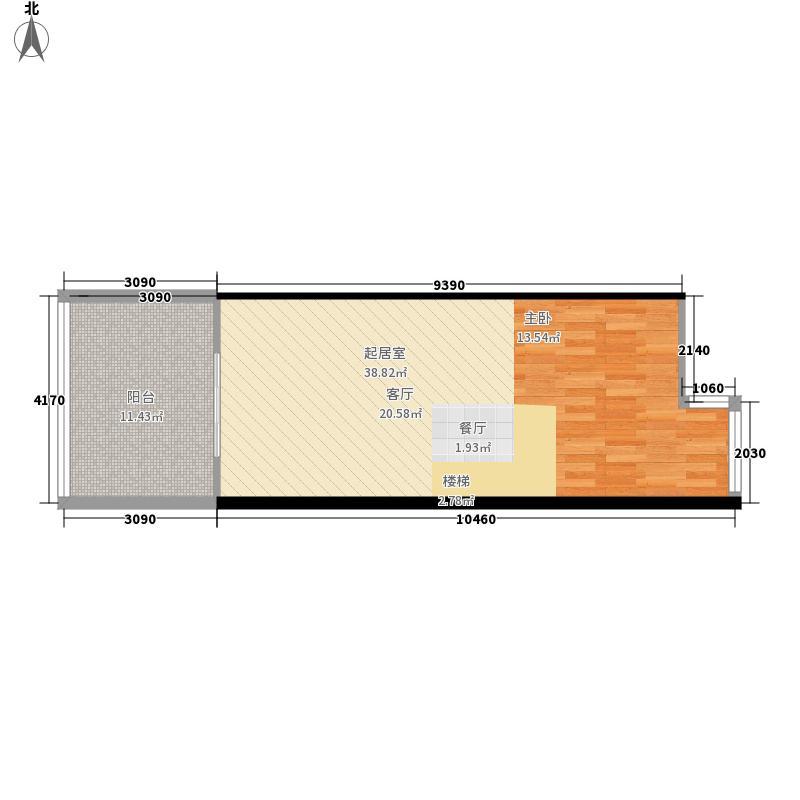 京东玉龙湾国际运动度假山谷58.00㎡汤泉木屋平面图户型1室1厅1卫1厨