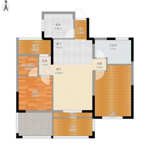 中嘉银都水岸2室1厅1卫1厨112.00㎡户型图