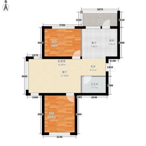 绿色新城二期嘉苑2室0厅1卫0厨84.00㎡户型图