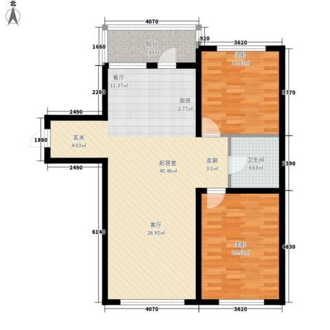 绿色新城二期嘉苑2室0厅1卫0厨93.00㎡户型图