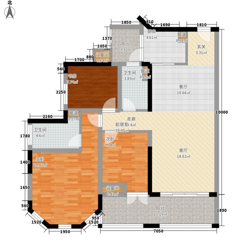 中德英伦联邦94.00㎡B区13、15号楼奇数层V户型3室2厅2卫1厨
