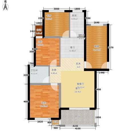 金瑞名都3室1厅1卫1厨87.00㎡户型图