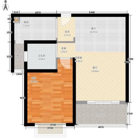 明中龙祥家园1室0厅1卫1厨88.00㎡户型图
