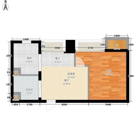 世家名门1室0厅1卫1厨49.00㎡户型图
