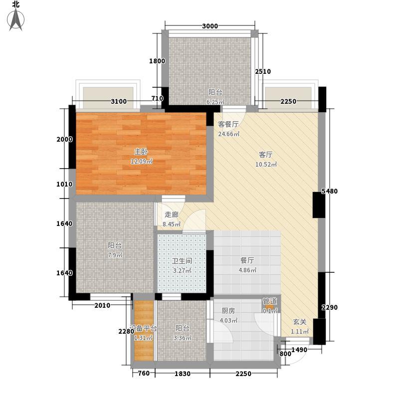 红城79.31㎡6#楼B1户型1室2厅1卫1厨