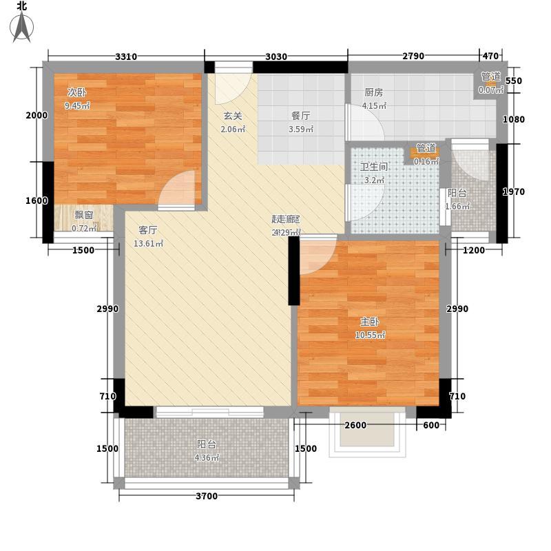 骏凯豪庭73.00㎡35、37座02单元标准层2室户型