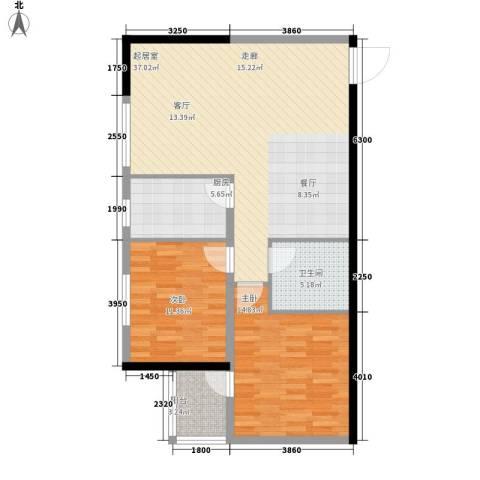 泓泰国际2室0厅1卫1厨108.00㎡户型图