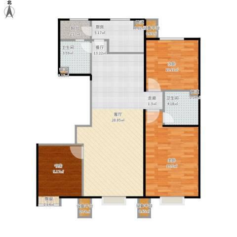 北京北3室1厅2卫1厨116.00㎡户型图
