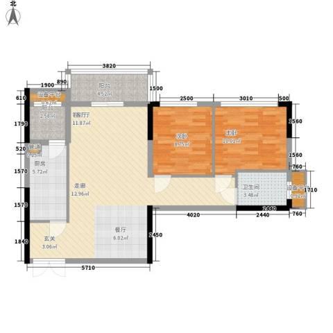 金色港湾五期2室1厅1卫1厨101.00㎡户型图