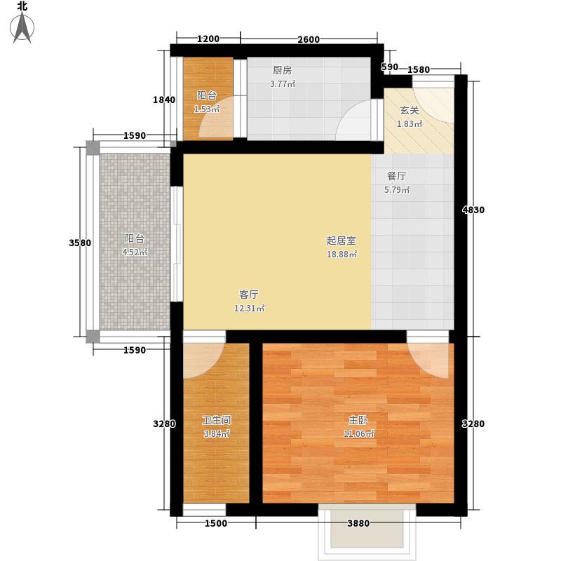 北湖印象55.29㎡3期F4型户型1室1厅1卫1厨
