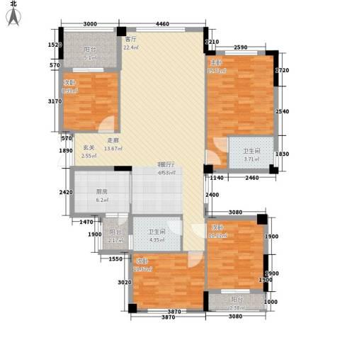 金色港湾五期4室1厅2卫1厨145.00㎡户型图