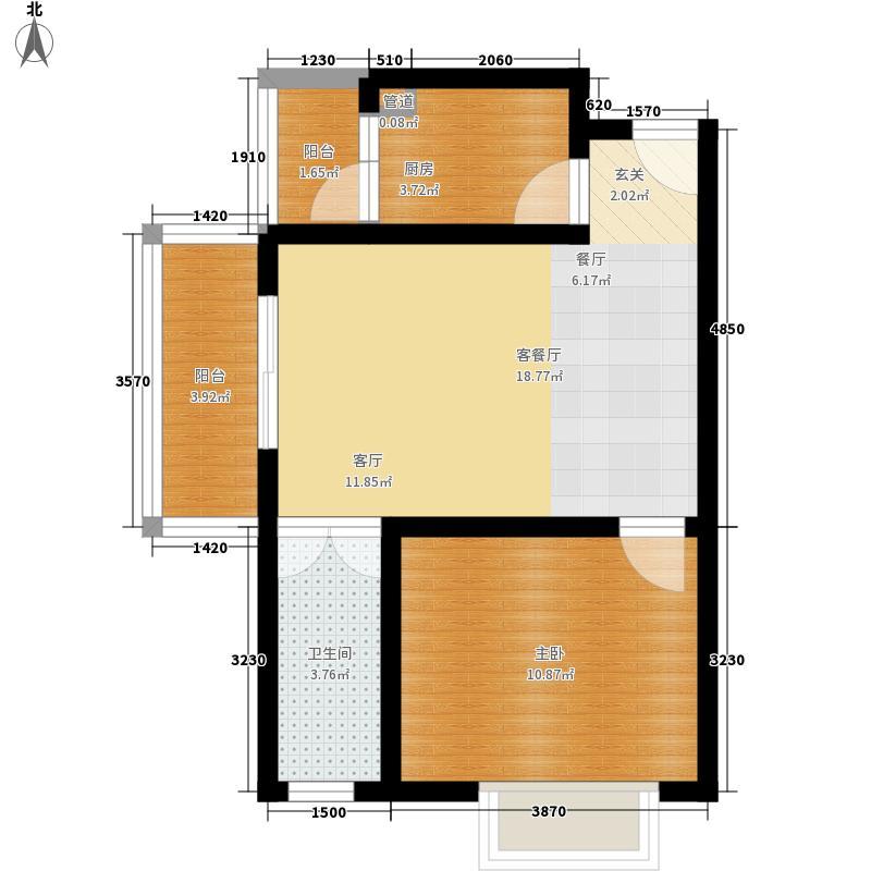 北湖印象54.91㎡3期A4型户型1室1厅1卫1厨