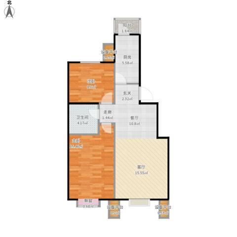 北京北2室1厅1卫1厨87.00㎡户型图